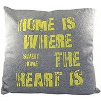 Kissen Bedruckt HOME 45x45cm Mit Reißverschluss Gefüllt Deko Couch  Wohnzimmer Sofa, Farbe:Gelb