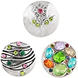 Morella® Damen Click-Button Set 3 Stück Druckknöpfe Blume und bunte Zirkoniasteine