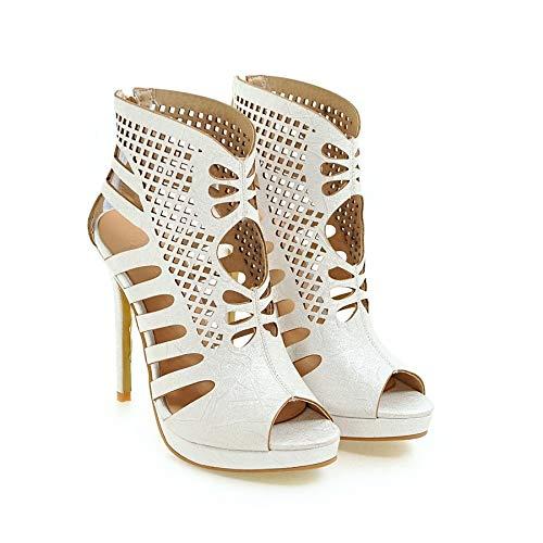 MENGLTX High Heels Sandalen Plus Große Größe 34-52 Schuhe Frauen Sandalen Mode High Heels Sandalen Sommer Stil Party Schuhe 17 Weiß -