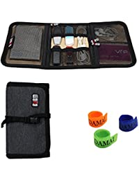 Wrap Portable Universal Electronics Accessoires Voyage Organisateur / Hard Sac dur / Câble stable avec serre-câble (Petit, Noir)