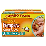 Pampers Simply Dry Gr.3 Midi 4-9kg Jumbo Box, 2er Pack (2 x 90 Windeln)