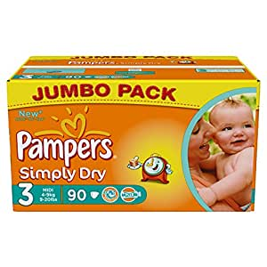 Pampers Simply Dry Size 3 Large Pack 90 x 2 (180 Nappies)