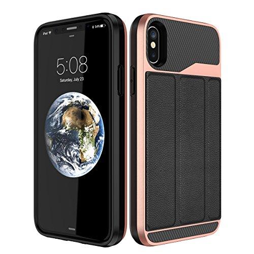 Yokata iPhone 7 / iPhone 8 Hülle Hardcase 2 in 1 Luxus Handyhülle Ultra Dünn Schutzhülle Leder Hartschale Handytasche Backcover mit Stand Halter Inner Weiche Silikon Handy Tasche Schale Etui Anti-Krat Schwarz
