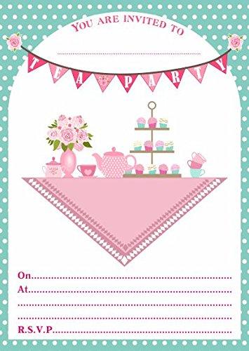 Einladungen zur Geburtstagsfeier oder zum 5-Uhr-Tee, 10 Stück - Einladung Tee Zum Eine