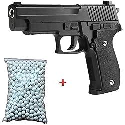 Galaxy Pack Cadeau Airsoft Pistolet Sig Sauer P226 Métal Noir 6mm 0.5 Joule à Ressort 600 billes offert ! - G26