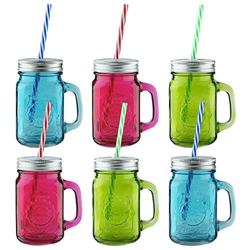 AMOS Farbigen Trinkgläser mit Henkel Klarglas Glasbecher Einmachgläser mit Deckeln & Strohhalme für Saft Wasser Cocktail Wein Bier Gartenparty 450ml (6)