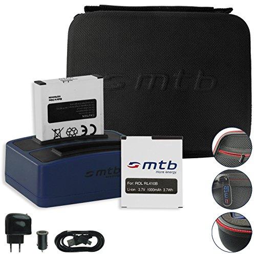 SPARSET: mtb more energy® Schutztasche XL schwarz + 2x Akku + Dual-Ladegerät für Rollei Actioncam 230, 240, 400, 410 / Maginon AC-800W - Bundle Kit Stecksystem Modular