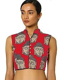 Suppar Sleave Women'S Cotton Saree Blouse (Red Peinted Plain Blouse-Half_Black_Free Size)