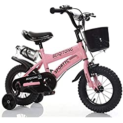Vélos enfants Vélos pour Enfants 12 14 16 18 Enfants De Plein Air pour Enfants De 20 Pouces pour Bébé en Plein Air Garçon Fille Cadeau Panier Plastique 2-11 Ans Noir (Color : Pink, Size : 16in)