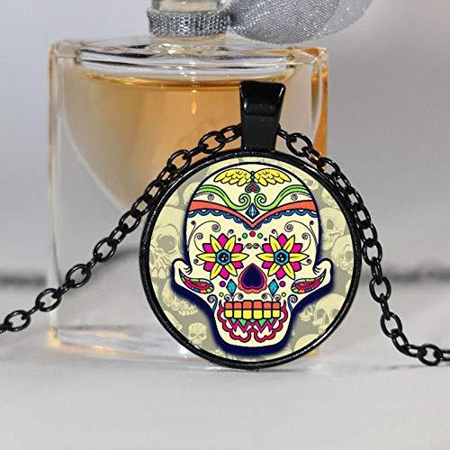 r Skull Halskette Skelett Kopf Bild Glas Anhänger Tattoo Gothic Blume Schmuck Herren Accessoires ()