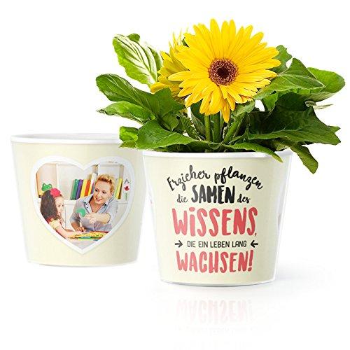 MyFacepot Erzieher Geschenk Blumentopf (ø16cm) | für Abschied im Kindergarten mit Rahmen für Zwei Fotos (10x15cm) | Erzieher Pflanzen die Samen des Wissens, die EIN Leben lang wachsen!