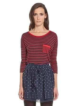 Springfield - T-Shirt mit 3/4-Ärmeln und einer Tasche - Damen, XL, rot