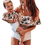 bobo4818 MoM Baby Mädchen Rüschen Blumendruck Sommer Badeanzug Strampler Jumpsuits für 3-7 Jahre (Mädchen, 6-7 Years)