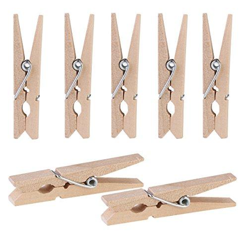 ULTNICE 100 Stück Mini Holz Foto Clips Wäscheklammern für DIY-Dekorationen (Papier-puppe Handwerk)