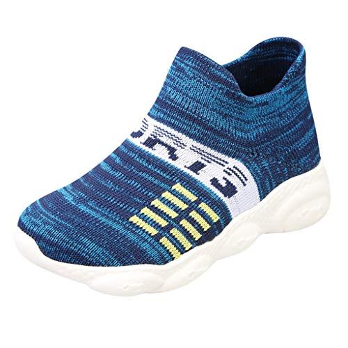 AIni Baby Schuhe Mode Beiläufiges 2019 Neuer Kinder atmungsaktiv gewebte Socken Sport im Freien Lässig Laufschuhe Turnschuhe Krabbelschuhe Kleinkinder Schuhe Lauflernschuhe(30,Blau) -