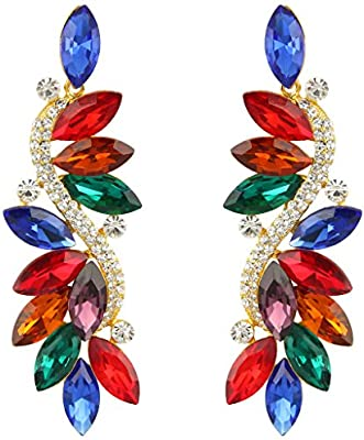 EVER FAITH® - Fashion Cristal Austriaco Fiesta Pendientes Perforados
