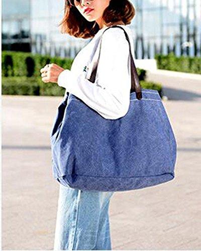 Da Donna Retrò Vintage Tela Borsa A Tracolla Borsetta Shopper Beige Blu marino