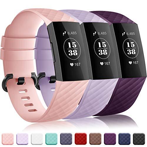 Onedream Kompatibel für Fitbit Charge 3 Armband für Damen Herren, Silikon Sport Ersatzarmband Kompatibel für Fitbit Charge 3/ Special Edition Uhr Tracker, Wasserdichtes Zubehör Armband 3 Pack