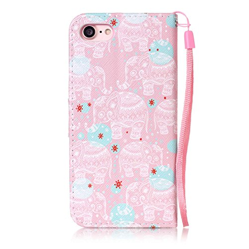 Conque iPhone 7 Portefeuille,Conque iPhone 7S Portefeuille, LuckyW PU Housse en Cuir pour Apple iPhone 7 7S(4.7 pouces) Mignonne Motif Clapet Flip Folio Wallet Portefeuille Case Elegant Durable Protec Rose