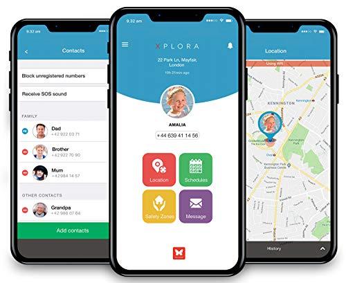 XPLORA – Telefonuhr für Kinder – Telefonieren, Mitteilungen senden und empfangen, Ruhezeiten, Sicherheitszonen, SOS, GPS-Ortung, Kalender (BLAU SIM-Free) - 4