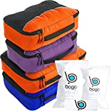 Bago Packing Cubes - 4-teiliges Packwürfel Set für Reisen - Plus 6 Koffer Organizer Zip Beutel (2_Large+2_Medium_DBlueOrance(M)PurpleOrange, 2_Large+2_Medium)