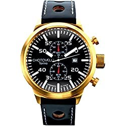 Chotovelli Big Pilot Men's Watch Black Dial Analogue Chronograph Display Black leather Strap 7900.7