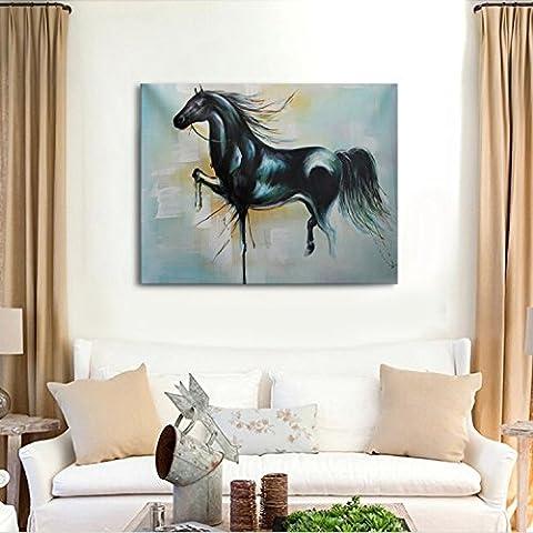 IPLST@ Modernas etiquetas caseras, pintura abstracta Animal Negro aceite del caballo en la lona hecha a mano de la lona, pintura del arte para la decoración -24x32inch (Sin marco, sin bastidor)