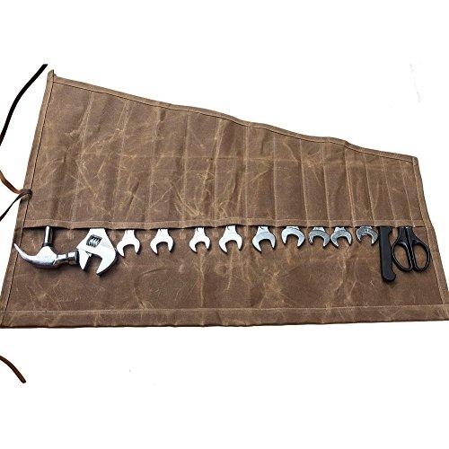 Estuche enrollable para herramientas de lona encerada con 14 bolsillos, ideal para regalar a los apasionados de la artesanía y el bricolaje, GJB011, marrón