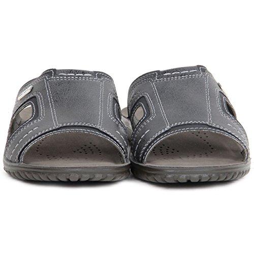 Pour Homme rembourré Semelle intérieure en simili cuir semelle antidérapante sur Mule dos ouvert sandales chaussures d'été pour femme Noir - noir