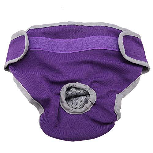 Pangding Pet Windeln, atmungsaktive Baumwolle physiologische Menstruation Damenbinde Unterwäsche für Hündin Welpen(S-Lila)