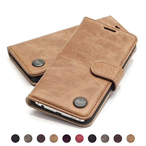 QIOTTI Hülle Kompatibel mit Galaxy S6 Edge Ledertasche aus Hochwertigem Leder mit Kartenfach Handyhülle Tasche in Braun