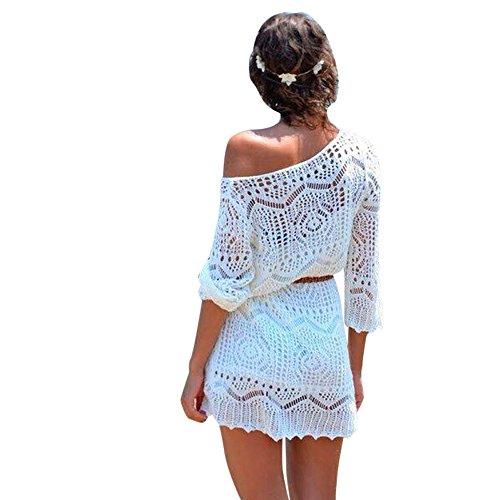 287e1b07a LHWY Las Mujeres Hueco Fuera Blanco Encaje Vestido Playa Fiesta Vestidos  con.