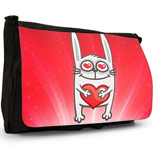 STAR STRUCK Love Animali Grande borsa a tracolla Messenger Tela Nera, scuola/Borsa Per Laptop Rabbit Holding Red Love Heart
