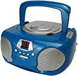 Groov-e GVPS713BE Boombox Portable CD Player with Radio & Headphone Jack - Blue (For use with non-MP3 CD)