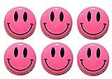 Button Zombie Smiley-Kühlschrankmagnete, neonrosa, 6oder 12 Stück(25mm), hergestellt in Großbritannien, stahl, multi, 25mm (1 Inch)