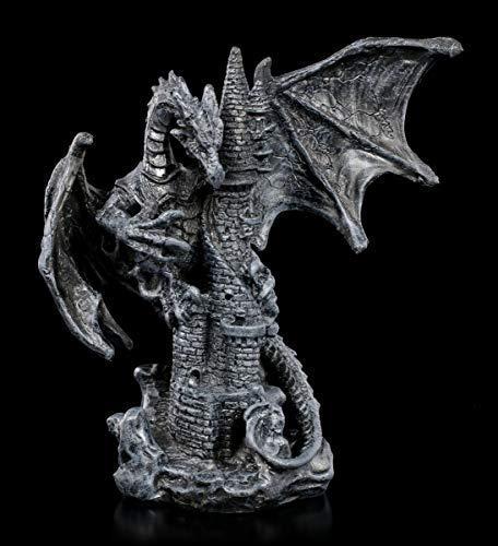 Fantasy Schwarze Drachen Figur sitzt auf Burg - Nobody is Save | Fantasy-Figur, Handbemalt