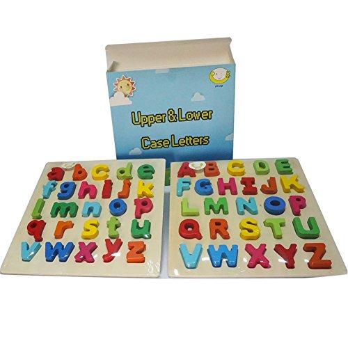 Ponny Set von 2Alphabet lernen Toys Kinder Holz Educational & Kleinbuchstaben A-Z Board für Vorschüler