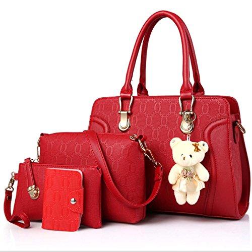 Borsa delle signore quattro insiemi borsa del messaggero del sacchetto del messaggero della borsa del raccoglitore della catena di tendenza della catena tendenza dell'unità PU Red