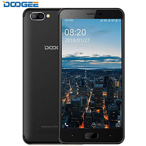 Smartphone Unter 100 Euro, DOOGEE X20 Dual Sim Handys ohne Vertrag Android 7, 5 Zoll HD IPS Display, 16GB ROM - 2.0MP +Dual 5.0MP kamera, Energiesparend MT6580 Prozessor - Obsidian Schwarz