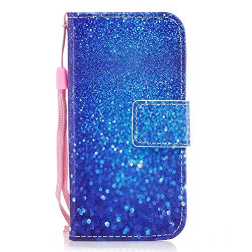 EUWLY Handy Schutzhülle für Samsung Galaxy S8 Handyhülle Luxus Muster Bookstyle LederHülle Brieftasche Ledertasche Klappbar Handy Tasche Leder Flipcase Handycover,Blau Glänzend Strass
