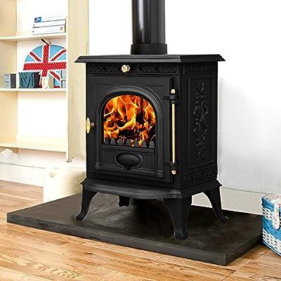 """Lincsfire Welton JA014 6.5KW Type B Cast Iron Log Burner Modern MultiFuel Wood Burning Stove WoodBurner Woodburning Fireplace + One Free 5"""" Flue Pipe"""