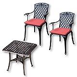 Lazy Susan - Sandra Quadratischer Kaffeetisch mit 2 Rose Stühlen - Gartenmöbel Set aus Metall, Antik Bronze (Terracotta Kissen)