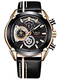 LIGE Relojes Hombres Reloj Deportivo de Cuarzo Reloj de Pulsera de Cuero Casual Reloj analógico Impermeable