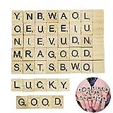 Xiton 100 Alfabeto de Madera Scrabble Azulejos Negros Letras y números para la artesanía de Madera S