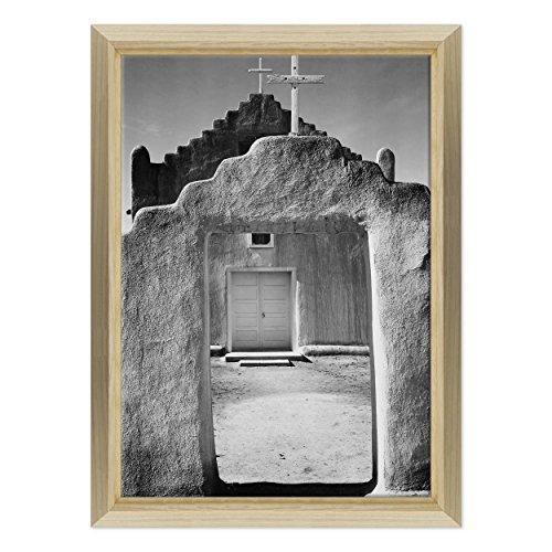 Bild auf Leinwand Canvas-Gerahmt-fertig zum Aufhängen-Ansel Adams-Kunst-Geschichte der Fotografie Weiß und Schwarz Dimensione: 70x100cm E - Colore Legno Naturale Design -