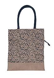 ABV Jute Lunch Bag, Medium Size, Black Designer Color