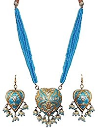 DollsofIndia Adjustable Bead Necklace With Blue Lac Meenakari Pendant & Earrings - Pendant - 1.75 Inches Earrings...