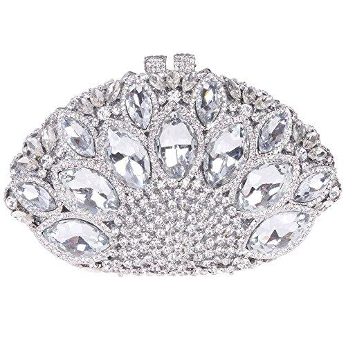 Santimon Clutch Delle Donne Grande Diamante Borse Da Festa di Nozze Sera A Forma Di Conchiglia Di Mare Strass Diamante Cristallo Con Tracolla Amovibile 4 Colori argento