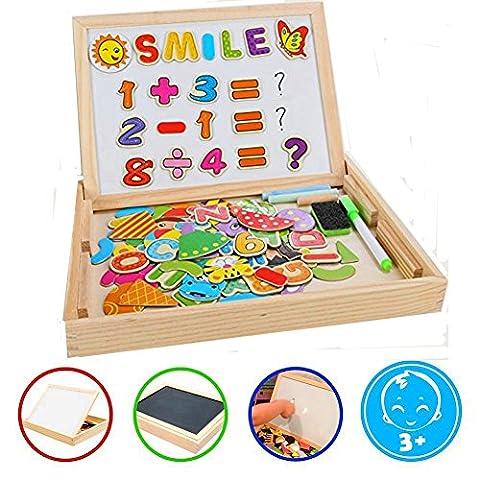 Puzzles Enfant en Bois Magnétique, COOLJOY Jigsaw avec Tableau Noir de Chevalet à Double Face Jouets Educatif pour Bambin Enfants Fille 3 Ans 4 Ans 5 Ans - Lettres et Chiffres - 100 Pièces - Puzzle Aimant peut Coller sur un Frigo