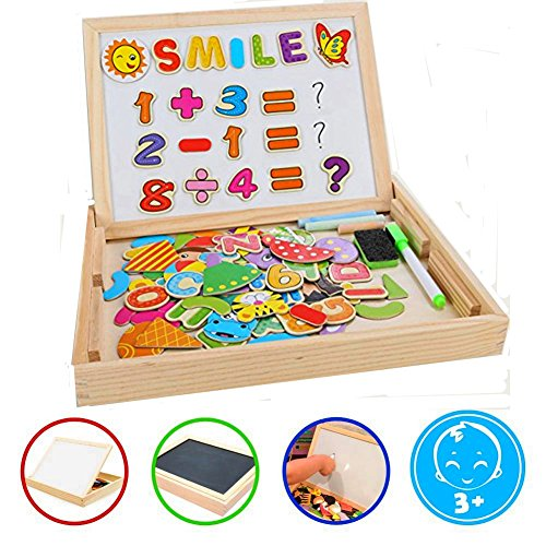 COOLJOY Magnetisches Holzpuzzles Puzzle-Spiele, Doppelseitiges Puzzle- und Zeichen-Staffelei, Kreidetafel, Lernspielzeug…